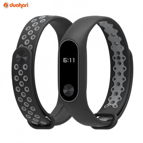 MIJOBS SPORT Silicone Strap Mi Band 2 Replacement Case Tali miband 2 - Black Grey