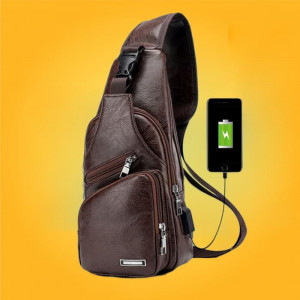 Tas Selempang Kulit USB Port Charger Ransel Leather Bag Pria Sling