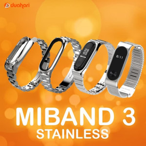 MIJOBS MiBand 3 Gelang Strap Stainless Steel Metal Replacement Mi band - Miband Plus